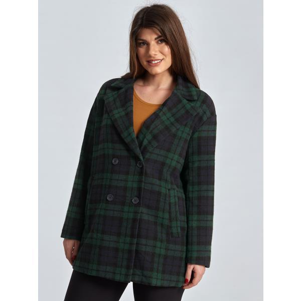 Oversized καρό παλτό curvy σε πρασινο 526fcfd4997