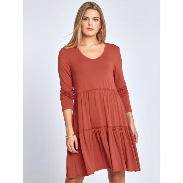 29acfd17518d Mini φόρεμα με βολάν curvy σε κεραμιδι