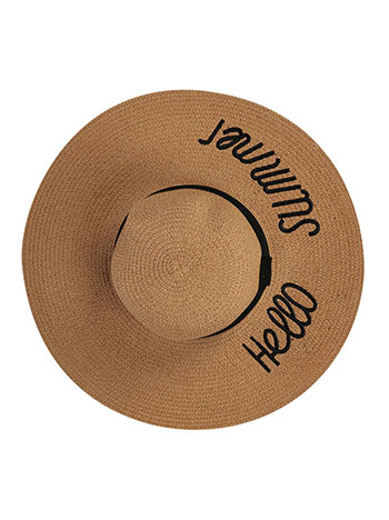 ad3a96ca Oversized hello summer floppy straw beach hat light brown