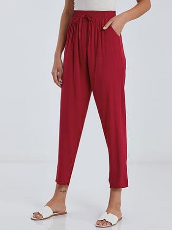 Ψηλόμεση παντελόνα, με τσέπες, ελαστική μέση, διακοσμητικό κορδόνι, κοκκινο σκουρο