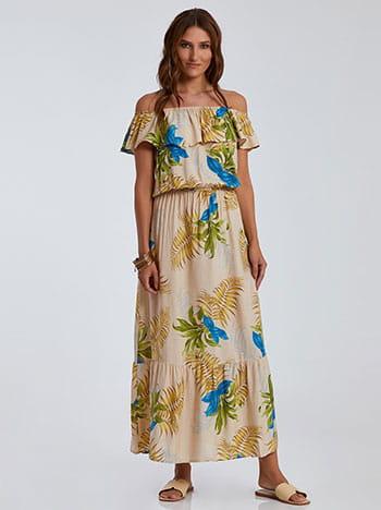 Strapless φόρεμα με βολάν, ελαστική μέση, απαλή υφή, μπεζ ανοιχτο