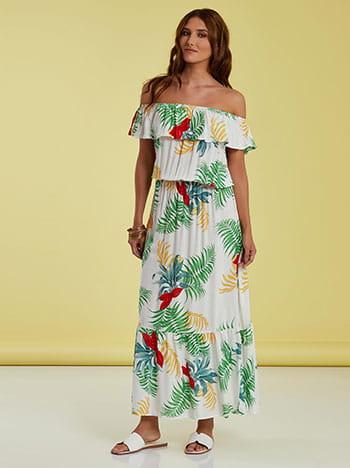 Strapless φόρεμα με βολάν, ελαστική μέση, απαλή υφή, λευκο