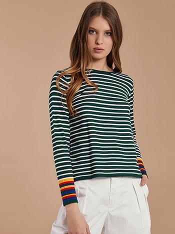 Ριγέ κοντή μπλούζα με κασμίρι SG1666.9961+13