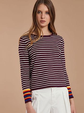 Ριγέ κοντή μπλούζα με κασμίρι SG1666.9961+11