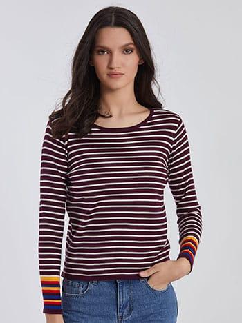 Ριγέ κοντή μπλούζα με κασμίρι SG1666.9961+9