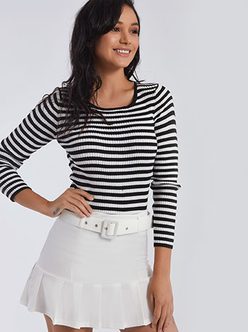 Ριγέ ριπ μπλούζα με μαλλί SG1674.4293+1