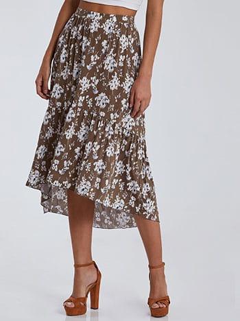 Ασύμμετρη εμπριμέ φούστα με βολάν SG2121.2001+1