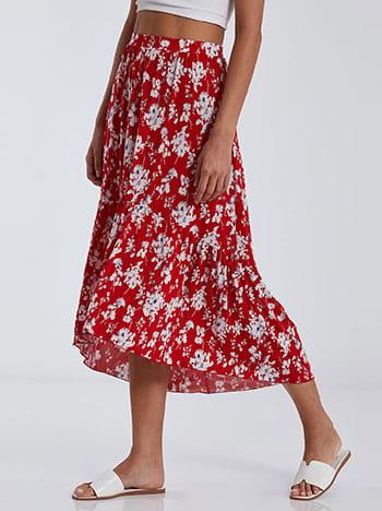 Ασύμμετρη εμπριμέ φούστα με βολάν SG2121.2001+2