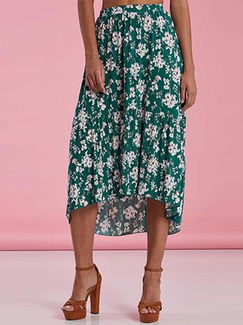 Ασύμμετρη εμπριμέ φούστα με βολάν SG2121.2001+3