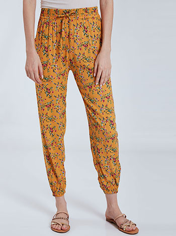 Εμπριμέ παντελόνα, ελαστική μέση, λάστιχο στο τελείωμα, με τσέπες, διακοσμητικό κορδόνι, κιτρινο σκουρο