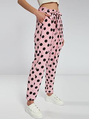 Πουά παντελόνα, με τσέπες, ελαστική μέση, με δέσιμο, ροζ