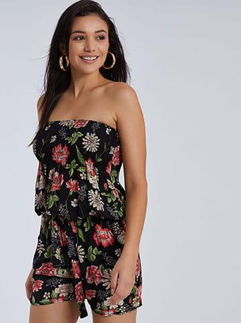 Floral ολόσωμο σορτς, strapless, αποσπώμενη ζώνη, με τσέπες, ελαστική μέση, μαυρο