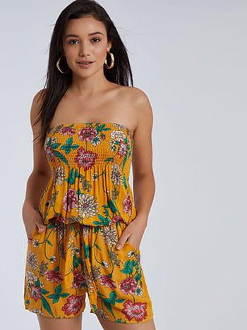 Floral ολόσωμο σορτς, strapless, αποσπώμενη ζώνη, με τσέπες, ελαστική μέση, κιτρινο σκουρο