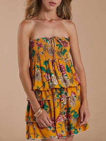 Strapless βαμβακερό φόρεμα με βολάν, διακοσμητικό κορδόνι, απαλή υφή, κιτρινο σκουρο
