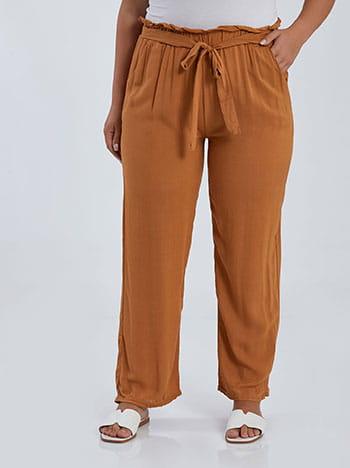 Βαμβακερή παντελόνα, με τσέπες, ελαστική μέση, ενσωματωμένη ζώνη, καμηλο