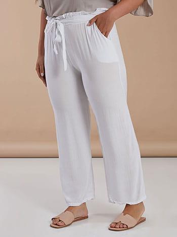 Βαμβακερή παντελόνα, με τσέπες, ελαστική μέση, ενσωματωμένη ζώνη, λευκο