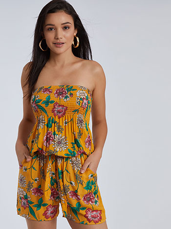 Strapless ολόσωμη βαμβακερή floral φόρμα SG9844.1216+1