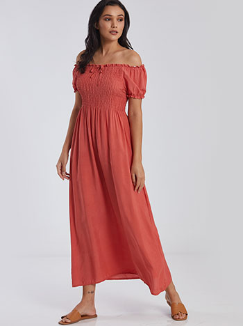 Maxi φόρεμα με σφηκοφωλιά, ακάλυπτοι ώμοι, κοραλι