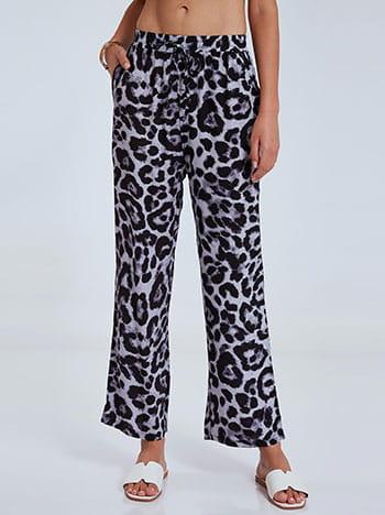 Λεοπάρ βαμβακερή παντελόνα, ελαστική μέση, με τσέπες, διακοσμητικό κορδόνι, απαλή υφή, λεοπαρ