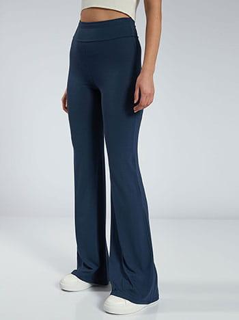 Παντελόνι καμπάνα, ελαστική μέση, χωρίς κούμπωμα, ύφασμα με ελαστικότητα, μπλε