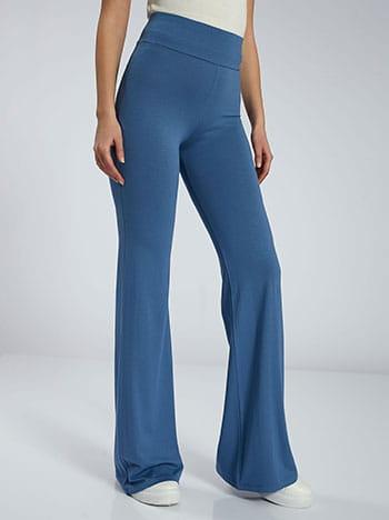 Παντελόνι καμπάνα, ελαστική μέση, χωρίς κούμπωμα, ύφασμα με ελαστικότητα, μπλε ραφ