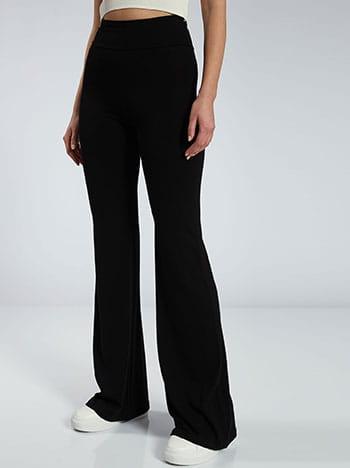 Παντελόνι καμπάνα, ελαστική μέση, χωρίς κούμπωμα, ύφασμα με ελαστικότητα, μαυρο