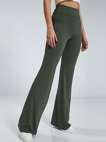 Παντελόνι καμπάνα, ελαστική μέση, χωρίς κούμπωμα, ύφασμα με ελαστικότητα, χακι
