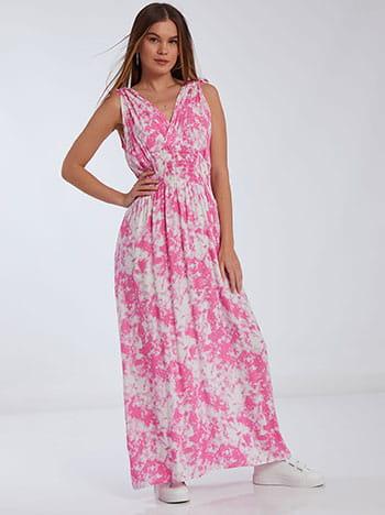 Tie dye φόρεμα, κρουαζέ, v πλάτη, φουξια λευκο