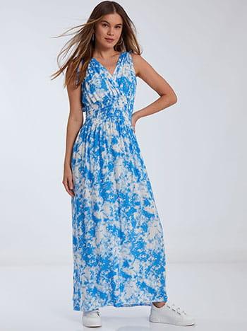 Tie dye φόρεμα, κρουαζέ, v πλάτη, γαλαζιο λευκο