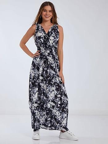 Tie dye φόρεμα, κρουαζέ, v πλάτη, μαυρο λευκο