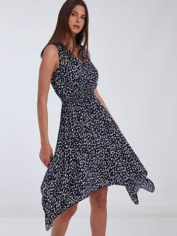 Ασύμμετρο εμπριμέ φόρεμα, κρουαζέ, ελαστική μέση, μπλε σκουρο λευκο