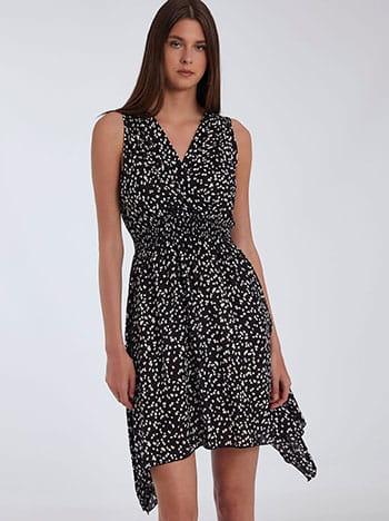 Ασύμμετρο εμπριμέ φόρεμα, κρουαζέ, ελαστική μέση, μαυρο λευκο