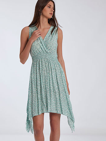 Ασύμμετρο εμπριμέ φόρεμα, κρουαζέ, ελαστική μέση, βεραμαν λευκο
