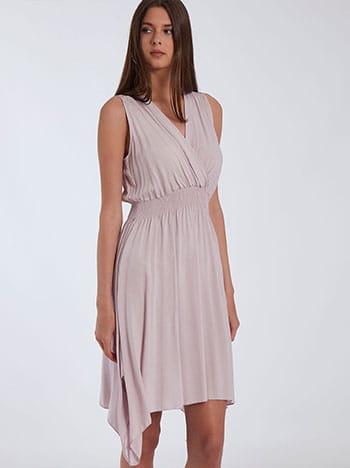 Ασύμμετρο φόρεμα, κρουαζέ, ελαστική μέση, χωρίς κούμπωμα, λιλα