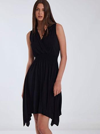 Ασύμμετρο φόρεμα, κρουαζέ, ελαστική μέση, χωρίς κούμπωμα, μαυρο