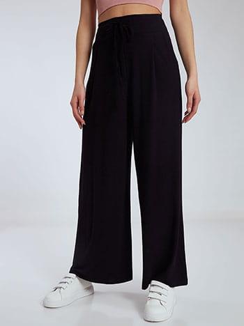Παντελόνα με πιέτες, ελαστική μέση, με τσέπες, εσωτερικό κορδόνι, χωρίς κούμπωμα, ύφασμα με ελαστικότητα, μαυρο