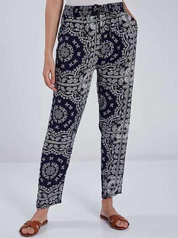 Εμπριμέ παντελόνι, ελαστική μέση, διακοσμητικό κορδόνι, με τσέπες, μπλε σκουρο λευκο