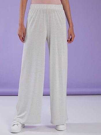 Μεταλλιζέ παντελόνα, ελαστική μέση, χωρίς κούμπωμα, ύφασμα με ελαστικότητα, celestino collection, λευκο