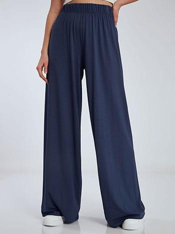 Φαρδιά παντελόνα σε ίσια γραμμή, ελαστική μέση, χωρίς κούμπωμα, ύφασμα με ελαστικότητα, μπλε