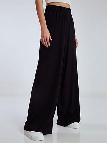 Φαρδιά παντελόνα σε ίσια γραμμή, ελαστική μέση, χωρίς κούμπωμα, ύφασμα με ελαστικότητα, μαυρο