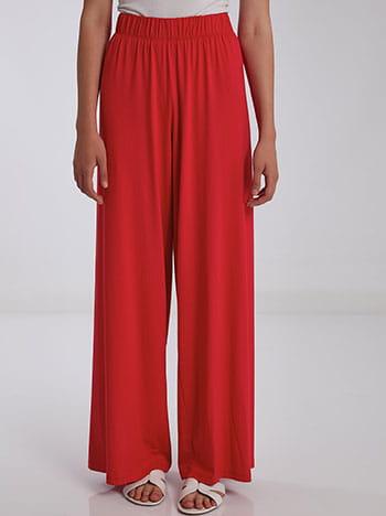 Φαρδιά παντελόνα σε ίσια γραμμή, ελαστική μέση, χωρίς κούμπωμα, ύφασμα με ελαστικότητα, celestino collection, κοκκινο