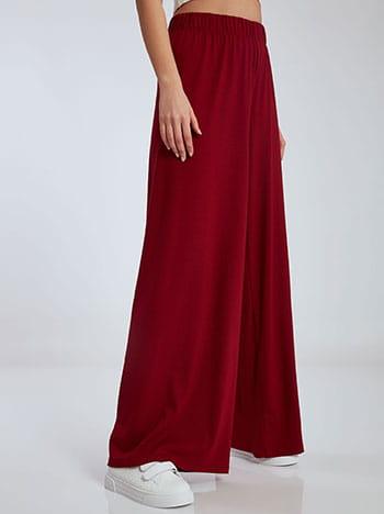 Φαρδιά παντελόνα σε ίσια γραμμή, ελαστική μέση, χωρίς κούμπωμα, ύφασμα με ελαστικότητα, κοκκινο σκουρο