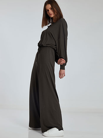 Ολόσωμη φόρμα με κουμπιά, ελαστική μέση, εσωτερικό κορδόνι, χωρίς κούμπωμα, ύφασμα με ελαστικότητα, απαλή υφή, σκουρο χακι