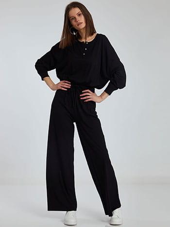 Ολόσωμη φόρμα με κουμπιά, ελαστική μέση, εσωτερικό κορδόνι, χωρίς κούμπωμα, ύφασμα με ελαστικότητα, απαλή υφή, μαυρο