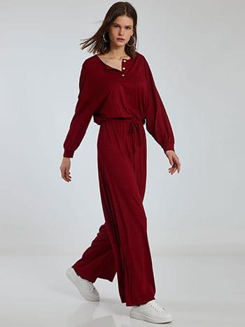 Ολόσωμη φόρμα με κουμπιά, ελαστική μέση, εσωτερικό κορδόνι, χωρίς κούμπωμα, ύφασμα με ελαστικότητα, απαλή υφή, κοκκινο σκουρο