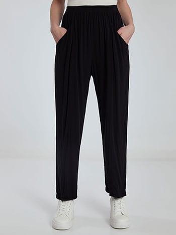 Παντελόνι με διακοσμητικές ραφές, με τσέπες, ελαστική μέση, απαλή υφή, μαυρο