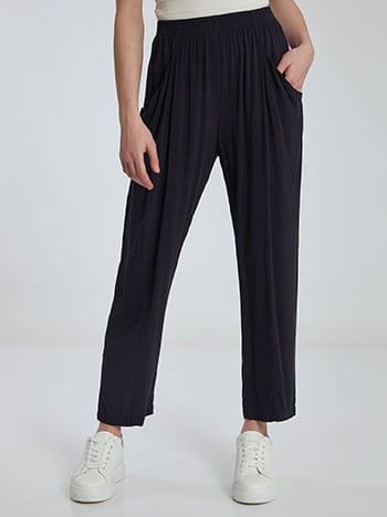 Παντελόνι με διακοσμητικές ραφές, με τσέπες, ελαστική μέση, απαλή υφή, σκουρο μπλε