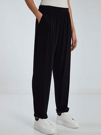 Παντελόνι με ρεβέρ, ελαστική μέση, με σούρες, απαλή υφή, μαυρο