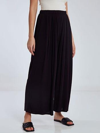 Crop παντελονα με τσέπες, ελαστική μέση, χωρίς κούμπωμα, μαυρο