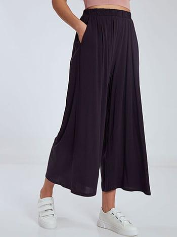 Crop παντελονα με τσέπες, ελαστική μέση, χωρίς κούμπωμα, σκουρο μπλε